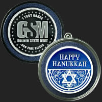 1 oz Happy Hanukkah Silver Round .999 Fine (ornament capsule included)