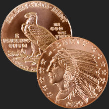 5 oz Incuse Indian Copper Round .999 Fine