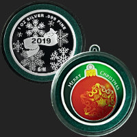 1 oz Red Ornament Merry Christmas 2019 Silver Round .999 Fine (ornament capsule included)