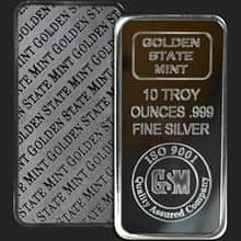 10 oz Golden State Mint Silver Bullion Bar .999 Fine