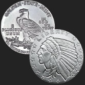 1/10 oz Incuse Indian Fractional Silver Bullion Round .999 Fine