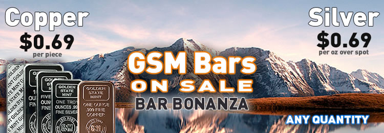 GSM Silver and Copper Bullion bars on sale