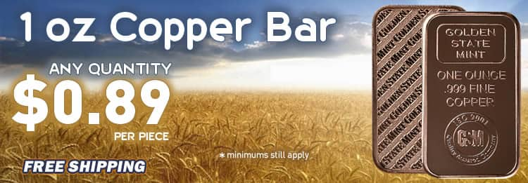 Copper bullion bar any quantity low price