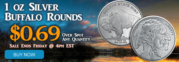 Silver 1 oz Buffalo Rounds on sale until Frid