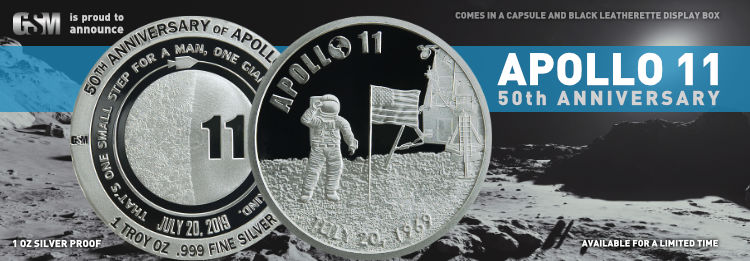Apollo 11 anniversary sale, Proof, Antiqued,