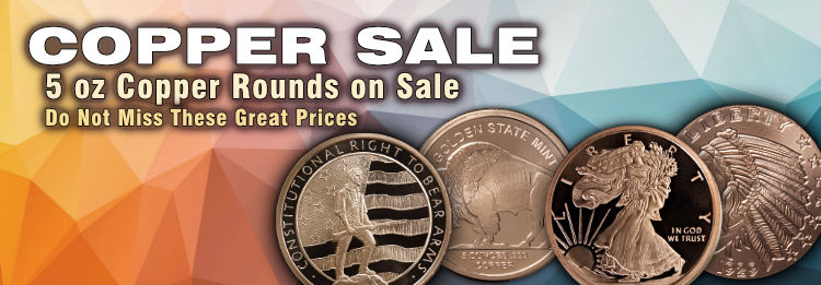 5 oz Copper Bullion Rounds on sale now