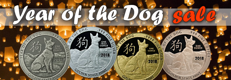 Golden State Mint Year of the Dog rounds on s